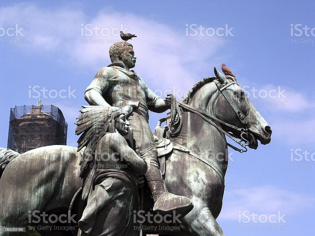 Theodore Roosevelt on a horse. stock photo