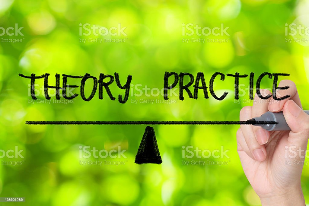 theory and practice balance sign stock photo