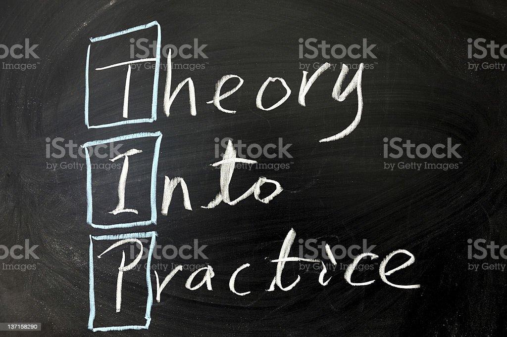 Theory into practice stock photo