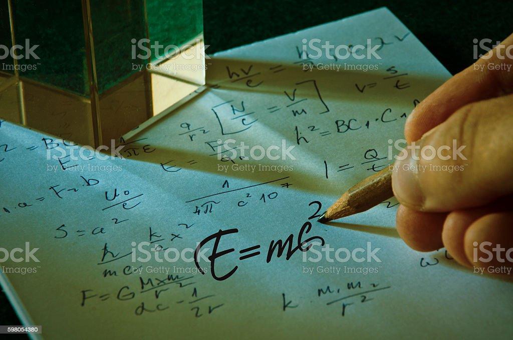 Theory of relativity by Albert Einsteins stock photo