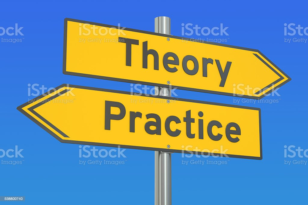 theory or practice concept on the road signpost, 3D rendering stock photo