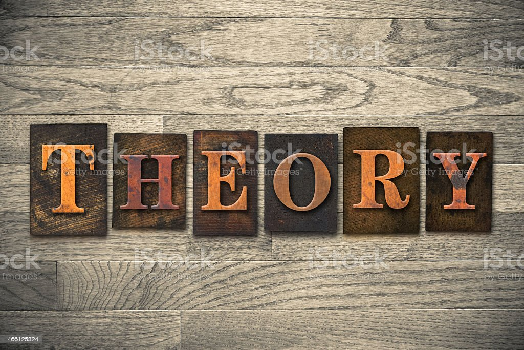 Theory Wooden Letterpress Concept stock photo