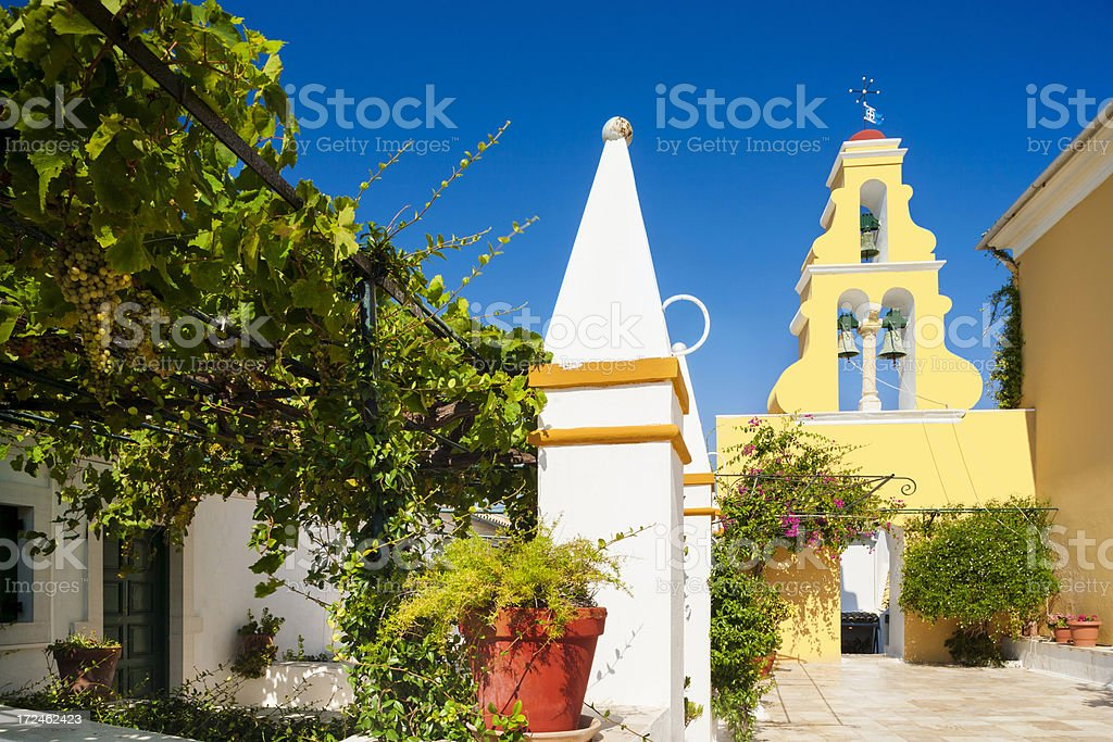 Theotokos Monastery in Paleokastritsa royalty-free stock photo