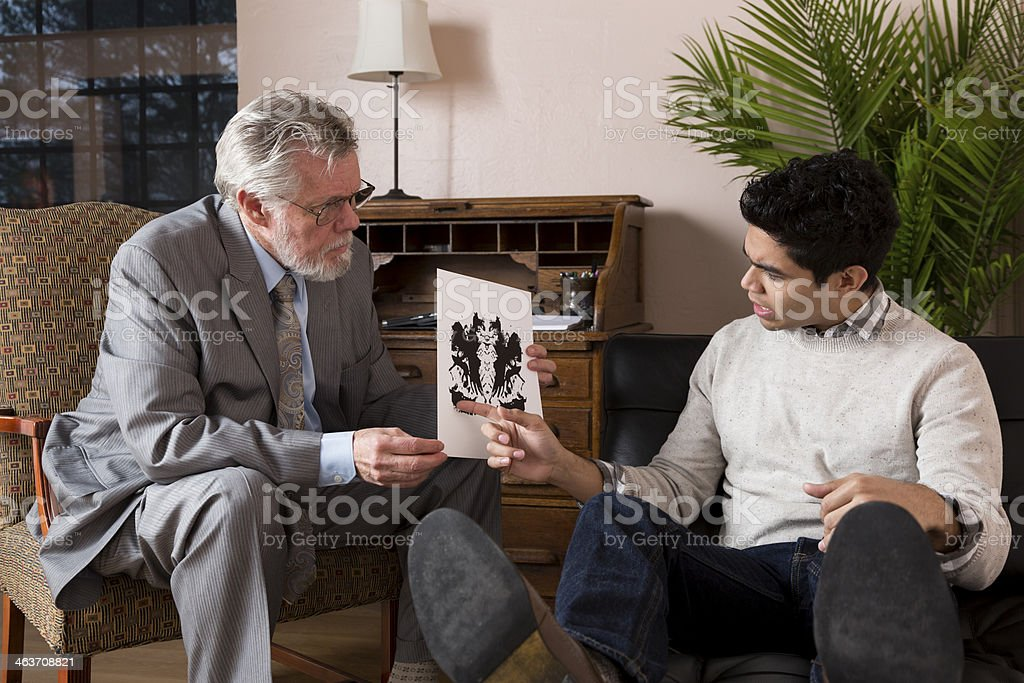 Therapist Giving Rorschach Test stock photo