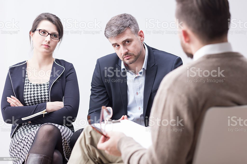 Therapist is talking about problems stock photo