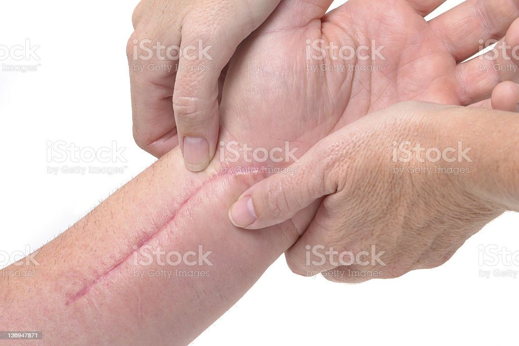 Therapist performing a hand massage stock photo