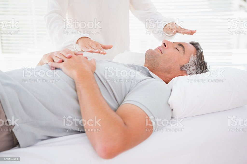 Therapist working with man stock photo