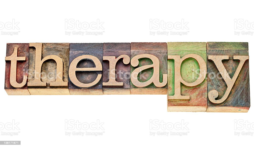 therapy word in letterpress type royalty-free stock photo