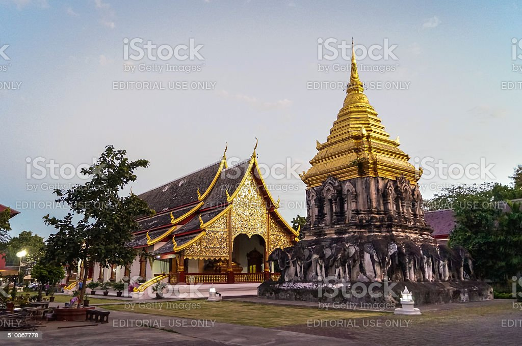 Theravada Temple Wat Chiang Mai with Elephant-Stupa stock photo