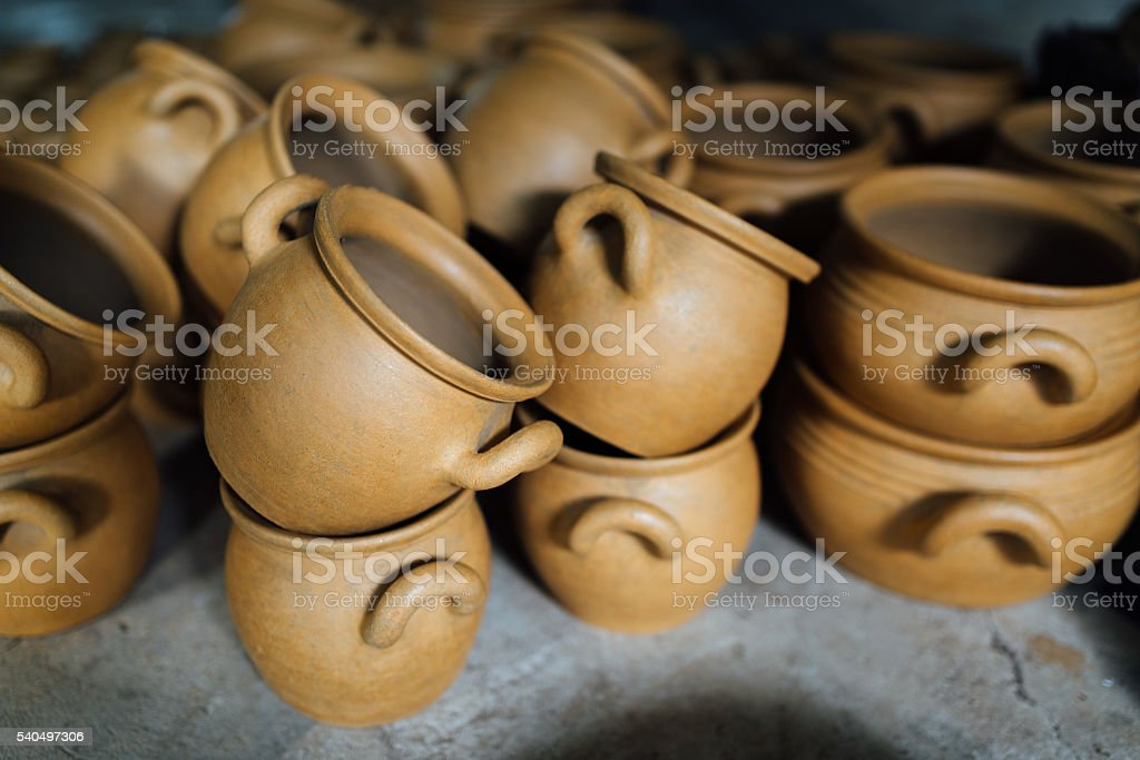 There are many terracotta clay pots stock photo