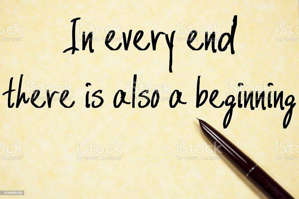 there is also a beginning text write on paper stock photo