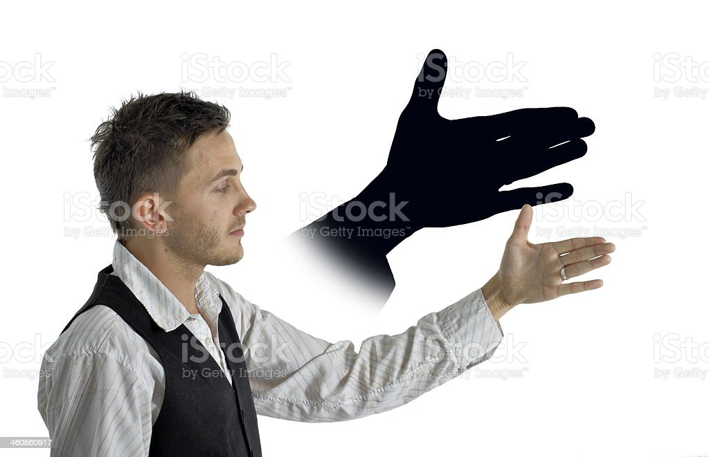Animal shadow puppet hand wolf or dog stock photo