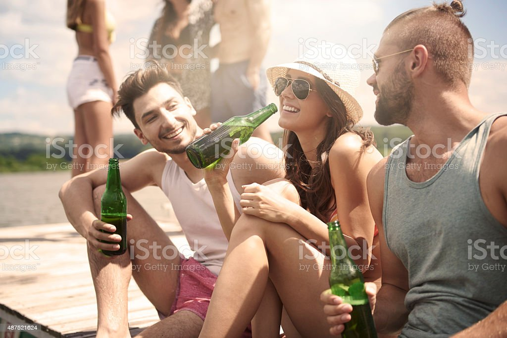 There is nothing better than hot weather and cold beer stock photo