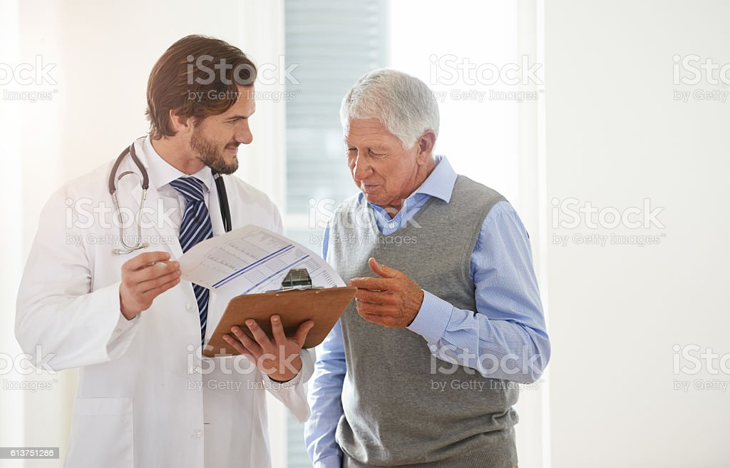 There to answer all his patient's concerns stock photo