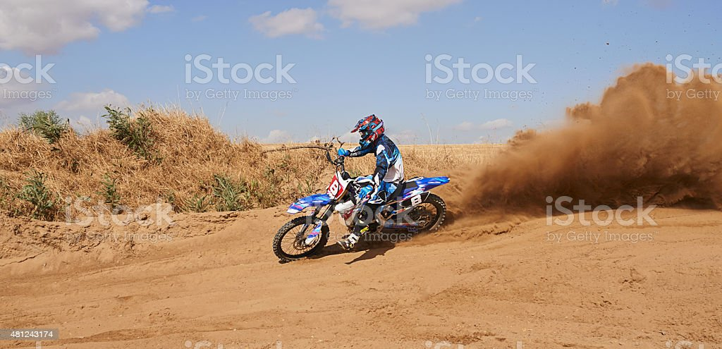 There's a dust cloud forming in his wake stock photo