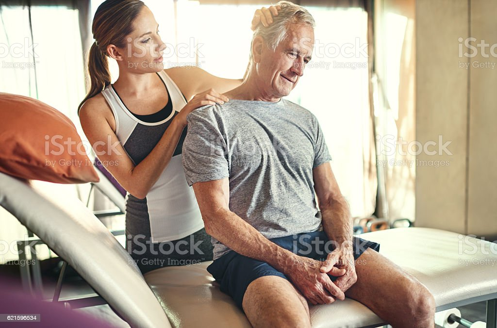 There's a solution for that sore neck of yours... stock photo