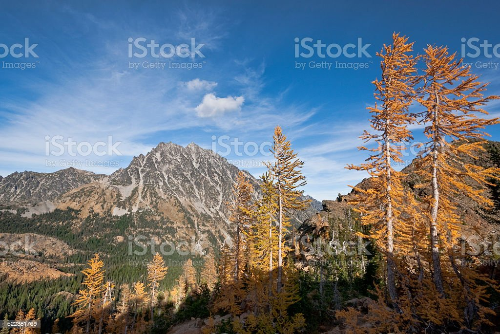 Mount Stuart in the Fall stock photo