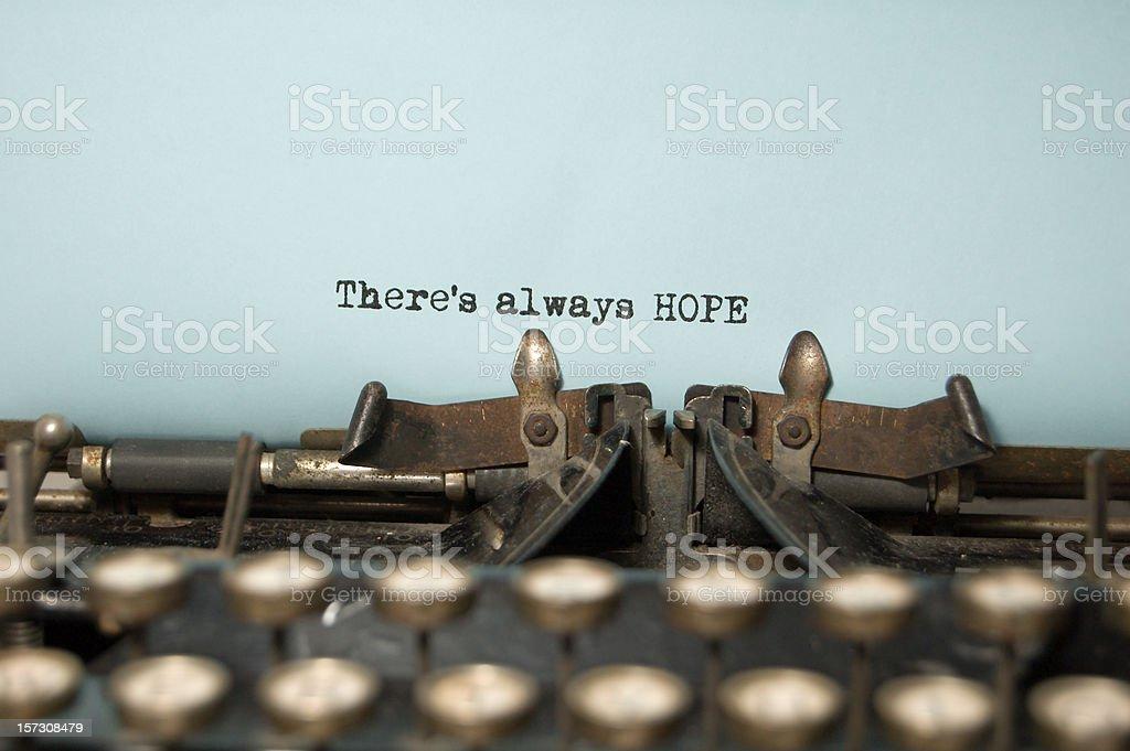 There's Always Hope on antique typewriter stock photo