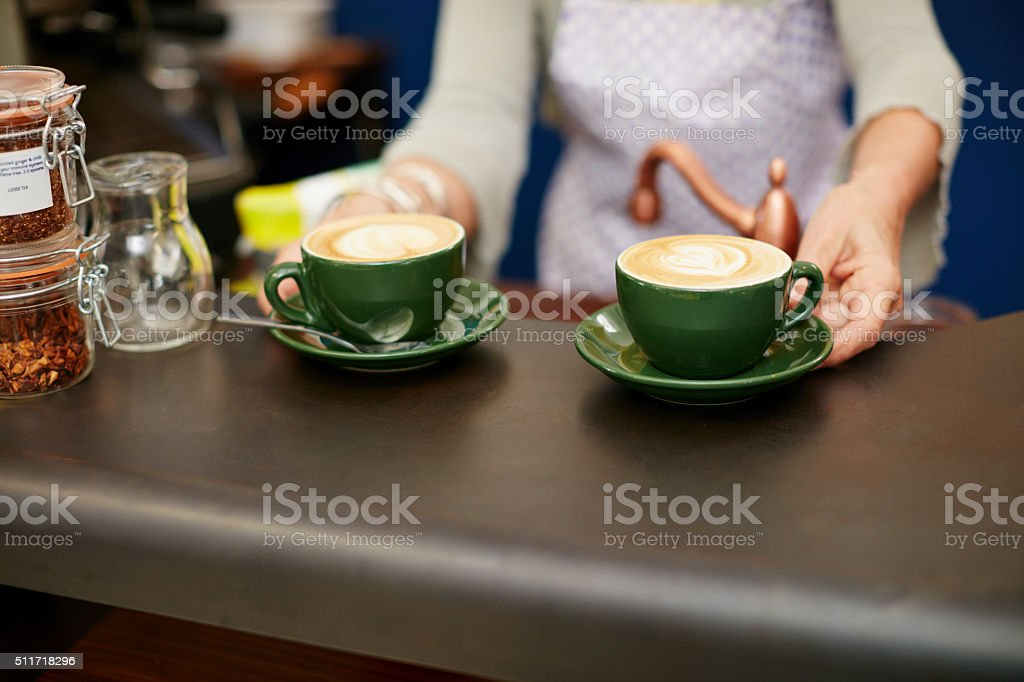 There's an art to making the perfect cup of coffee stock photo