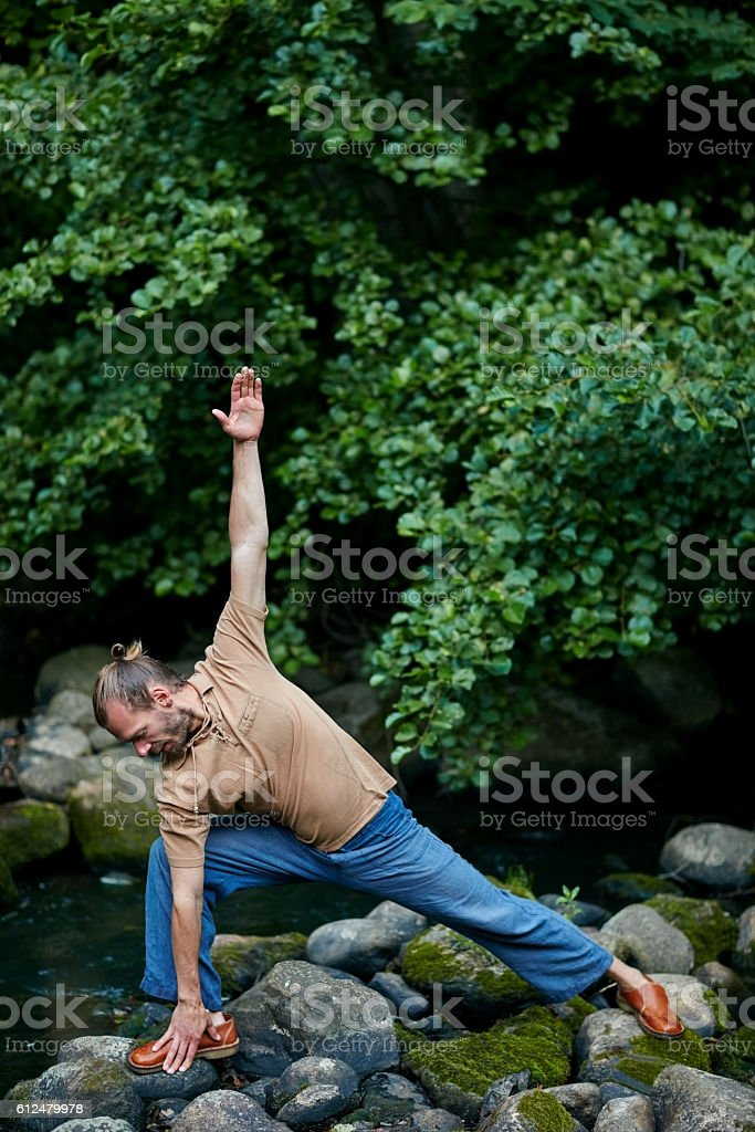 There's never a bad time for yoga stock photo