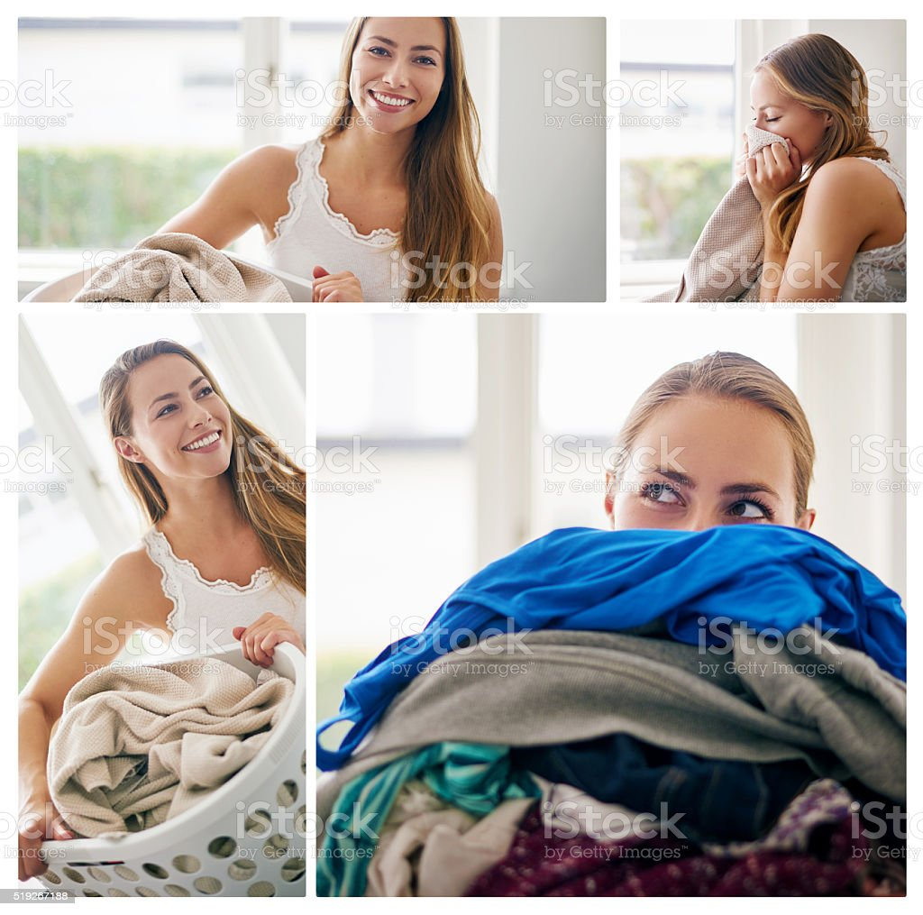 There's no better smell than freshly done laundry stock photo