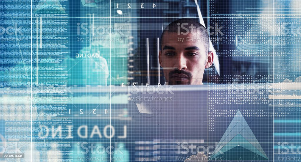 There's no getting lost in cyberspace with his skills stock photo