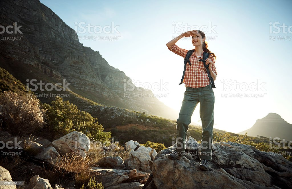 There's no trail too tough for her stock photo