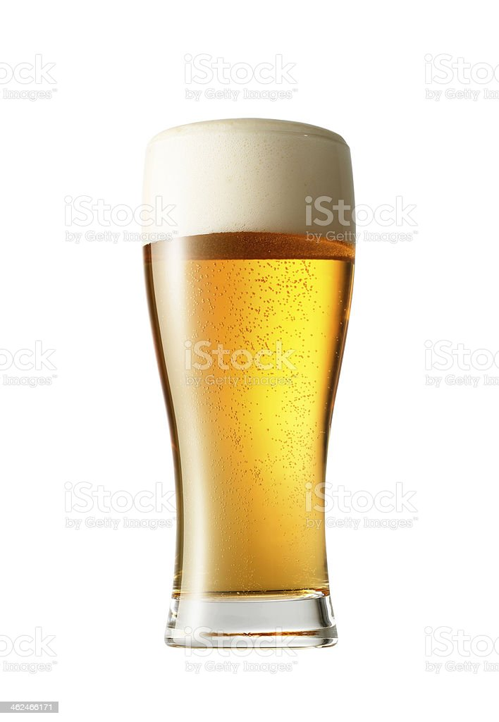 There's nothing like a cold ice beer after a hard day's work stock photo