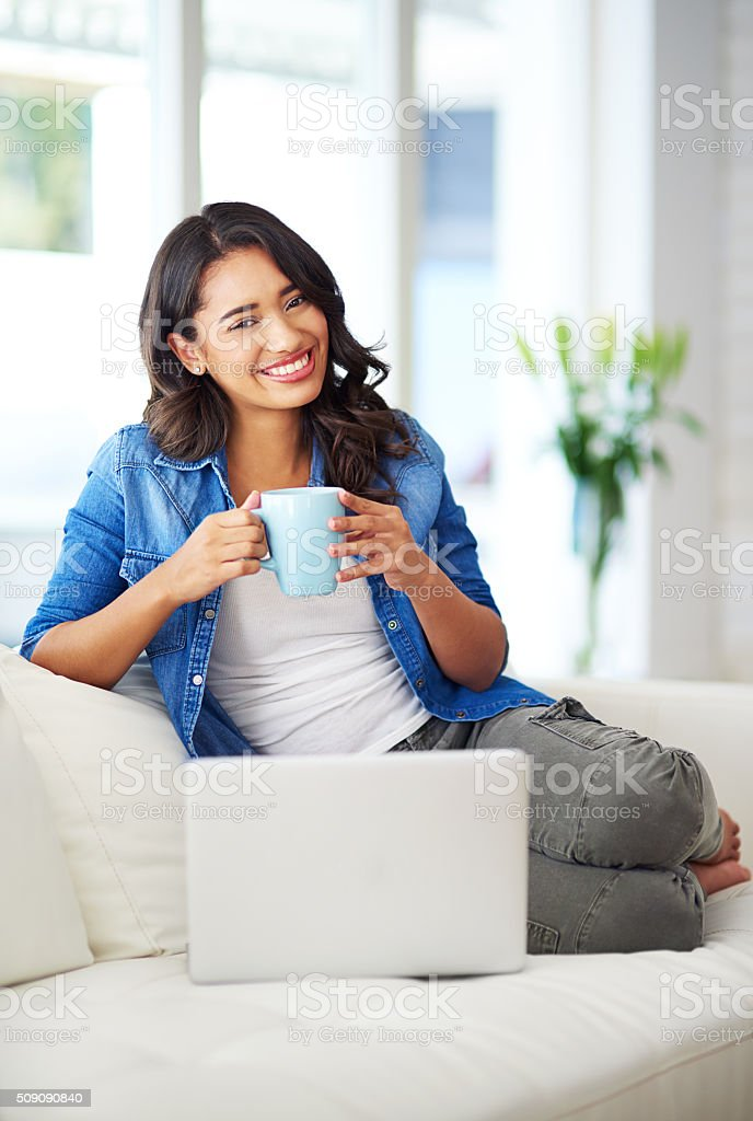There's nothing like a freshly brewed cup of coffee stock photo