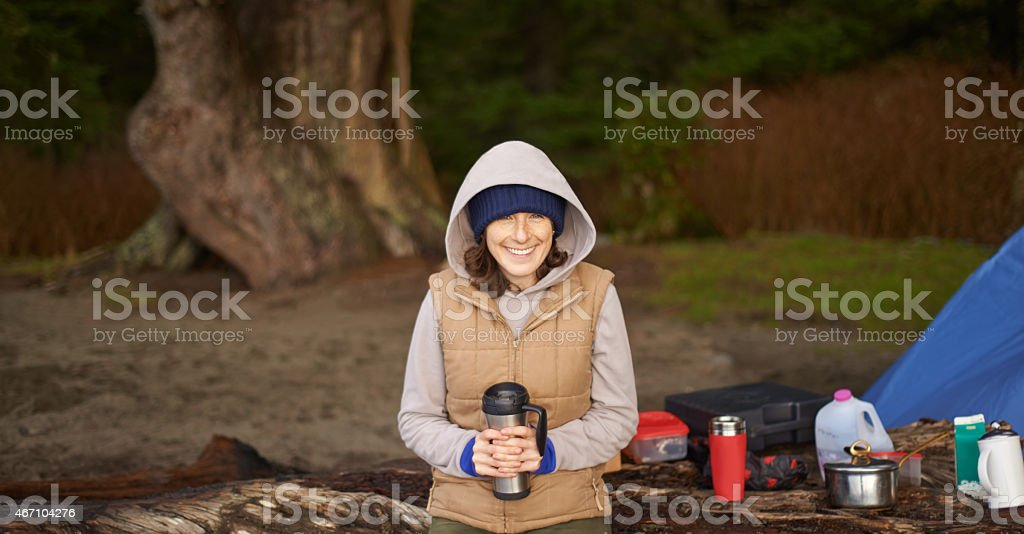 There's nothing like coffee and camping stock photo