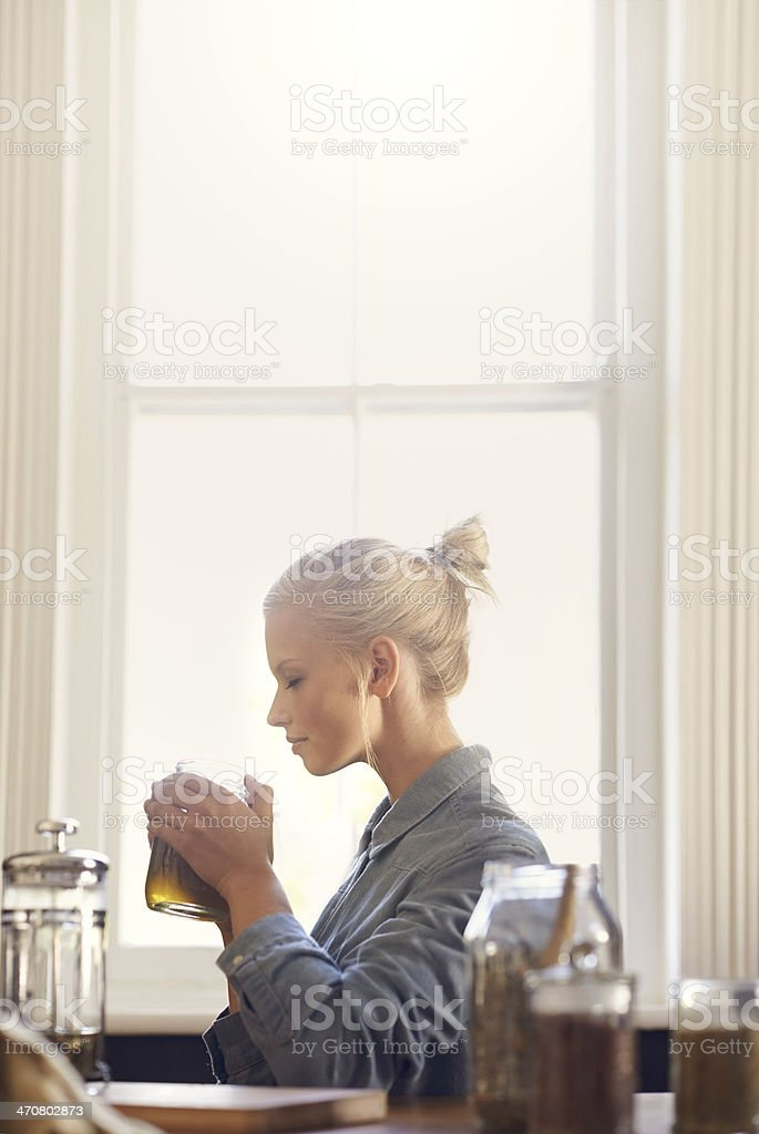 There's nothing like the smell of fresh tea stock photo