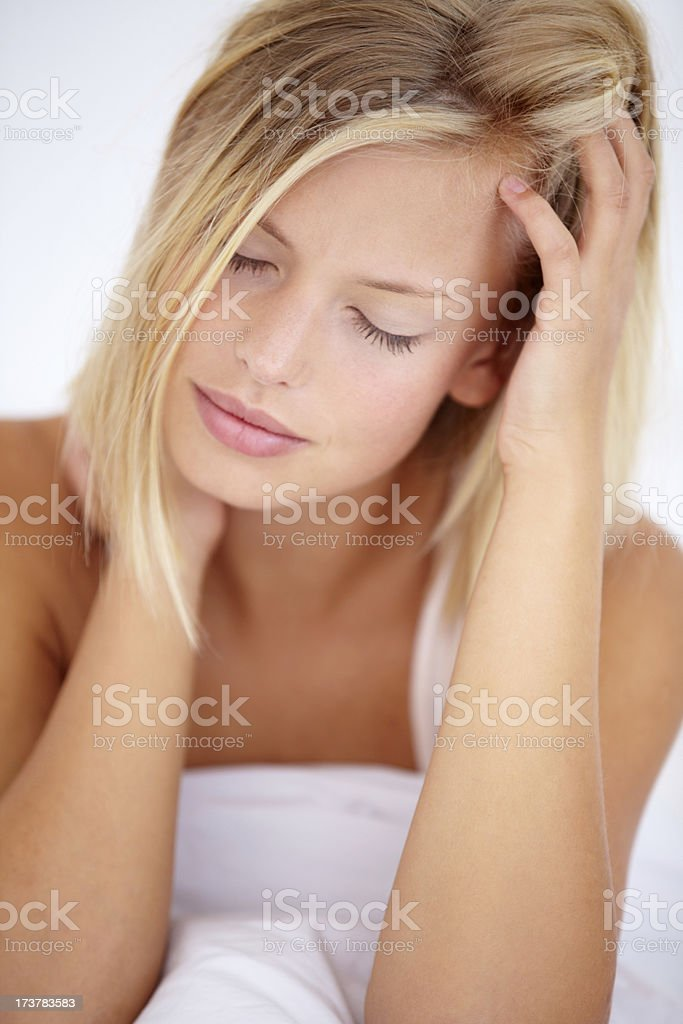 There's nothing worse than waking up with a stiff neck! royalty-free stock photo