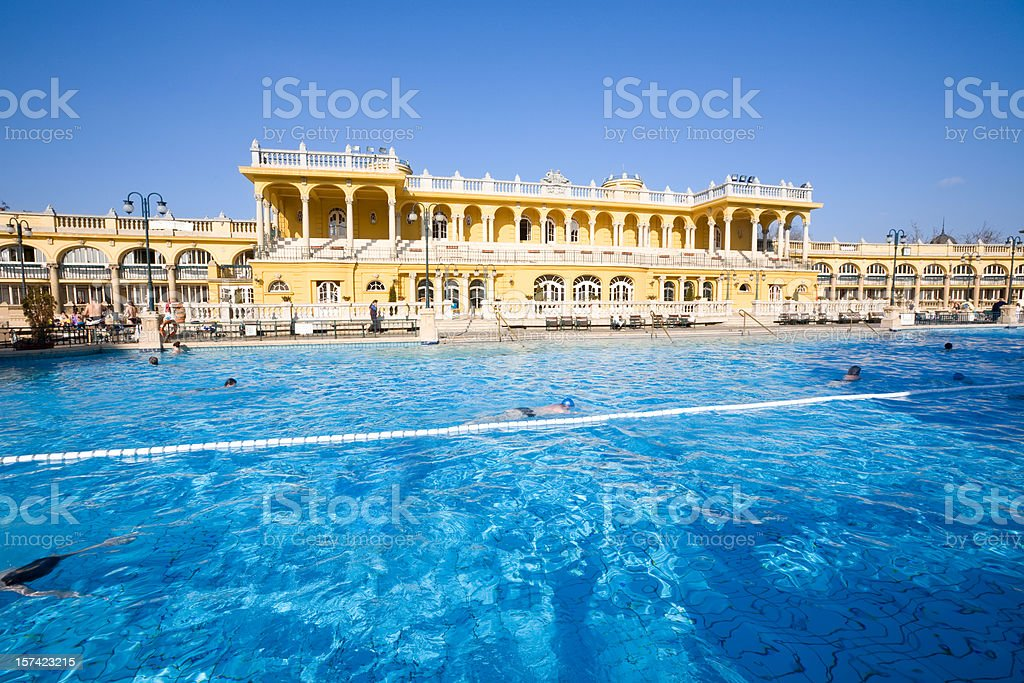 Thermal Bath Pool and Spa in Budapest stock photo