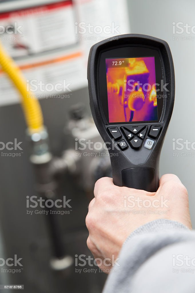 Thermal image hot water heater stock photo