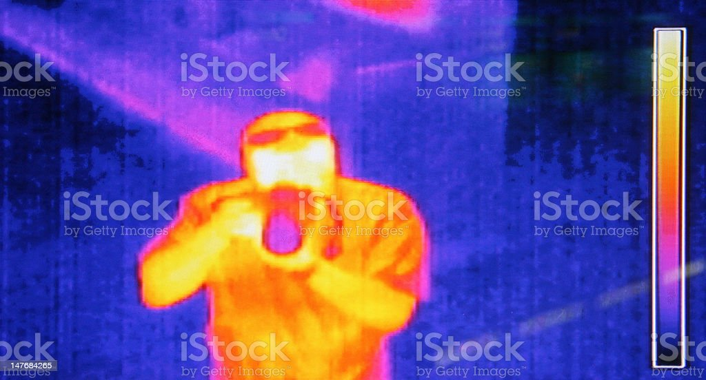 Thermal image of a photographer stock photo