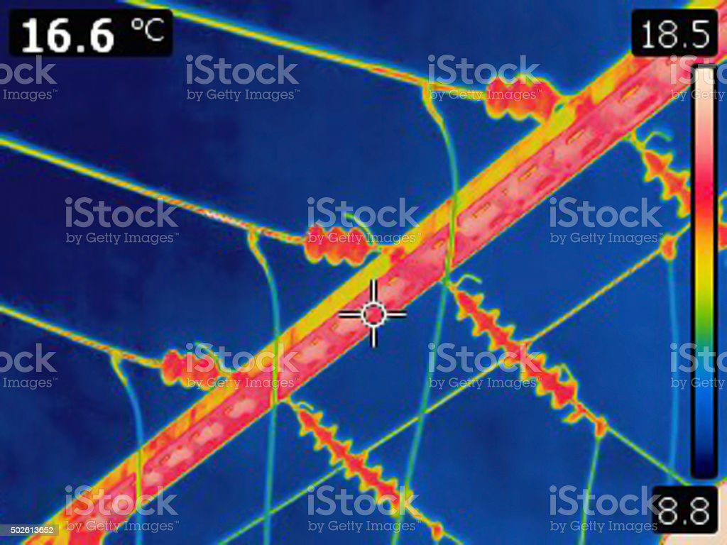 Thermal image of high voltage power lines stock photo