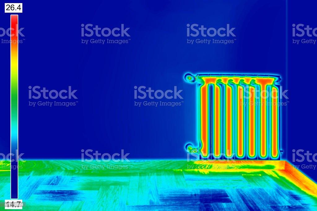 Thermal Image of Radiator stock photo