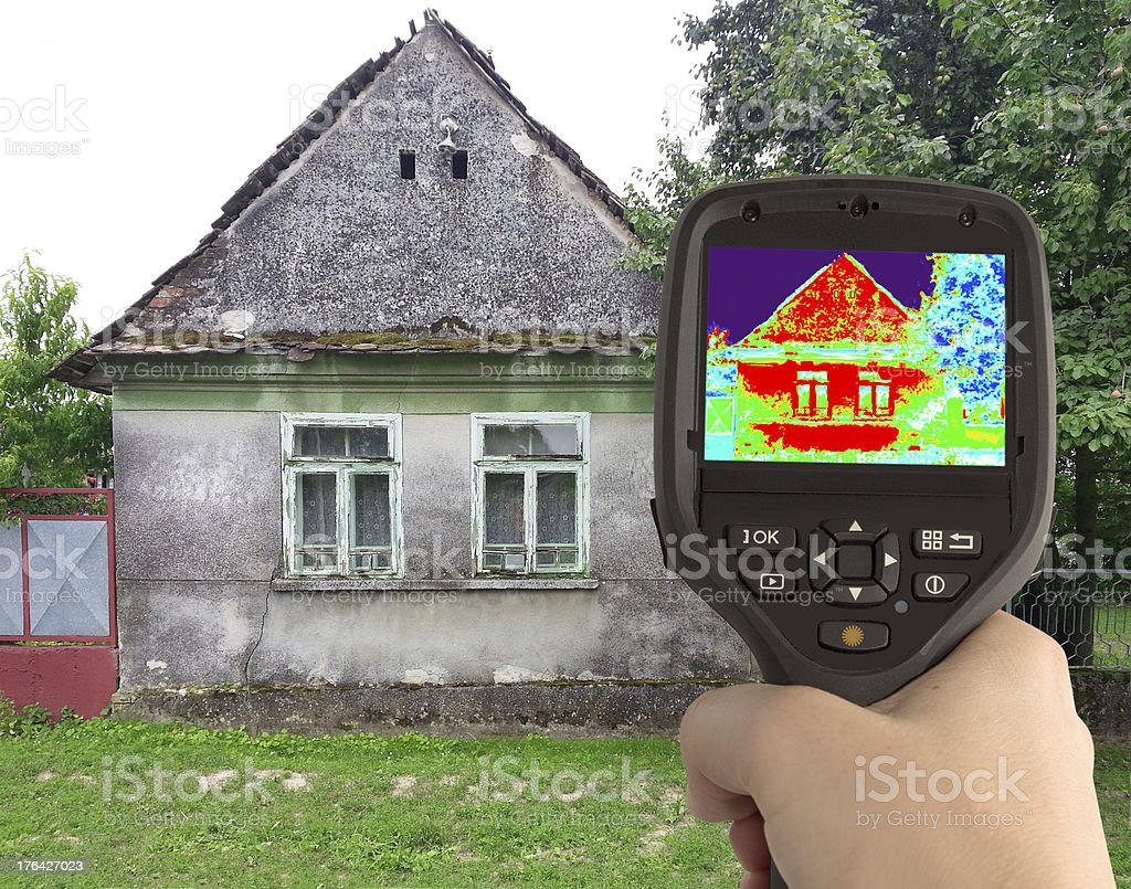 Thermal Image of the Old House royalty-free stock photo