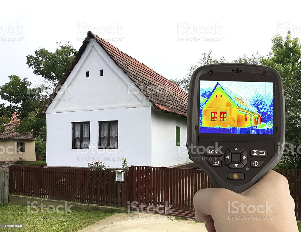Thermal Image of the Old House stock photo