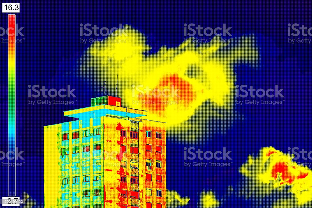 Thermal image on Residential building stock photo