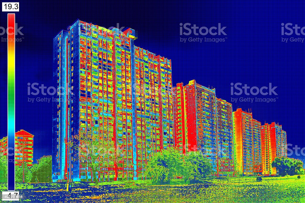 Thermal image on Residential building_10 stock photo
