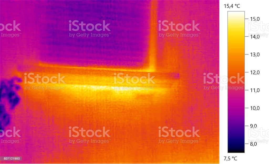 Thermal image photo, windows, building, color scale stock photo