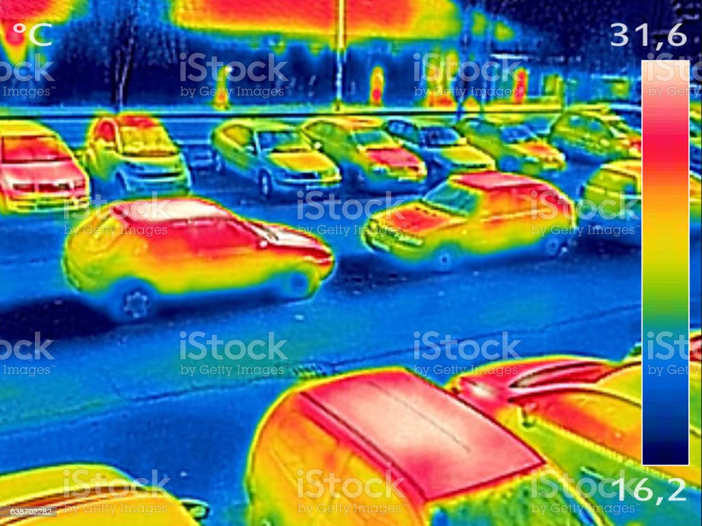 Thermal image showing parked cars stock photo