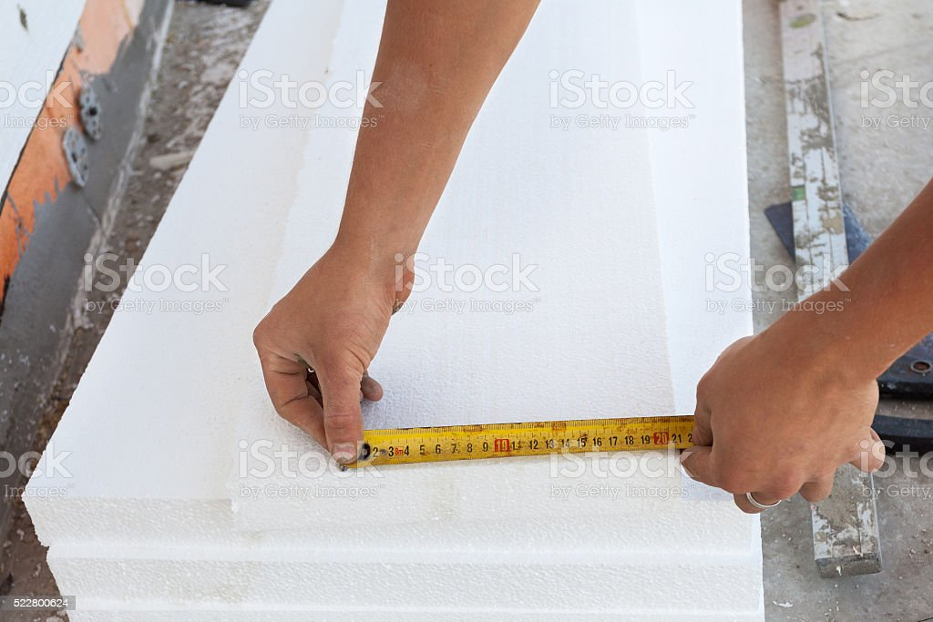 Thermal insulation house foundation walls with styrofoam boards. stock photo