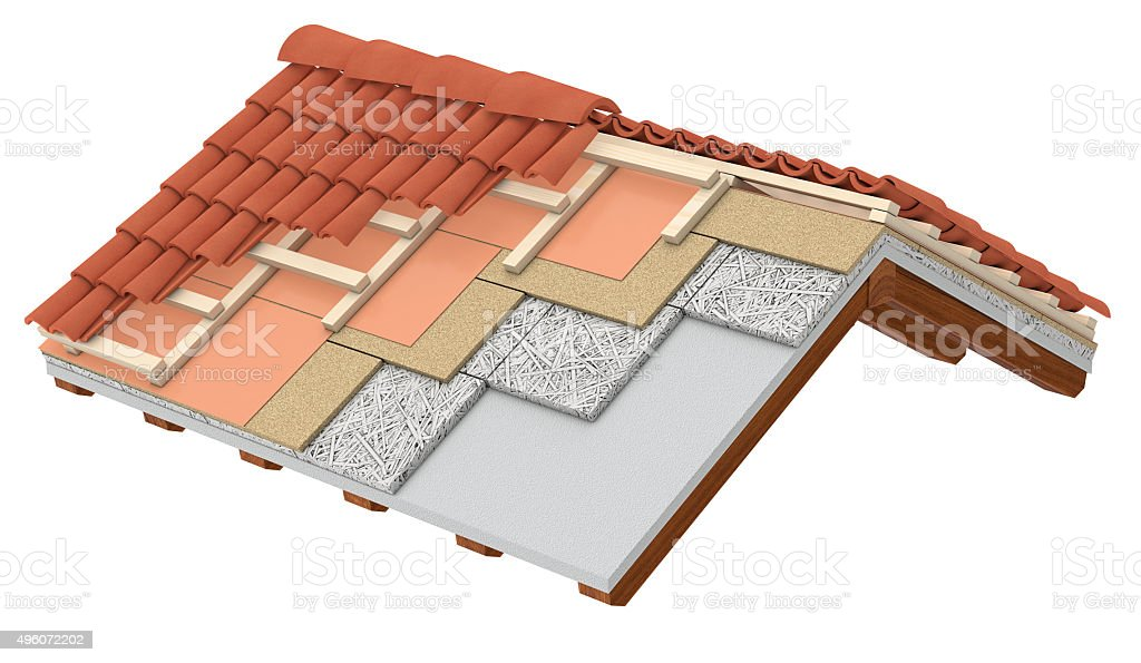 thermal insulation of a roof stock photo
