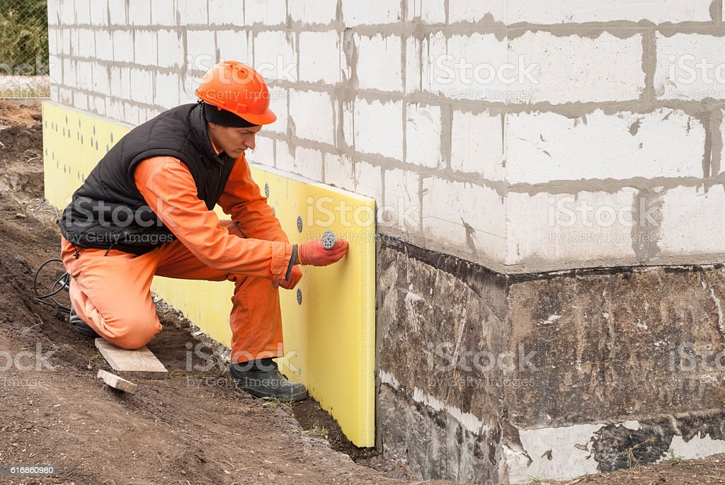 thermal insulation of the foundation stock photo