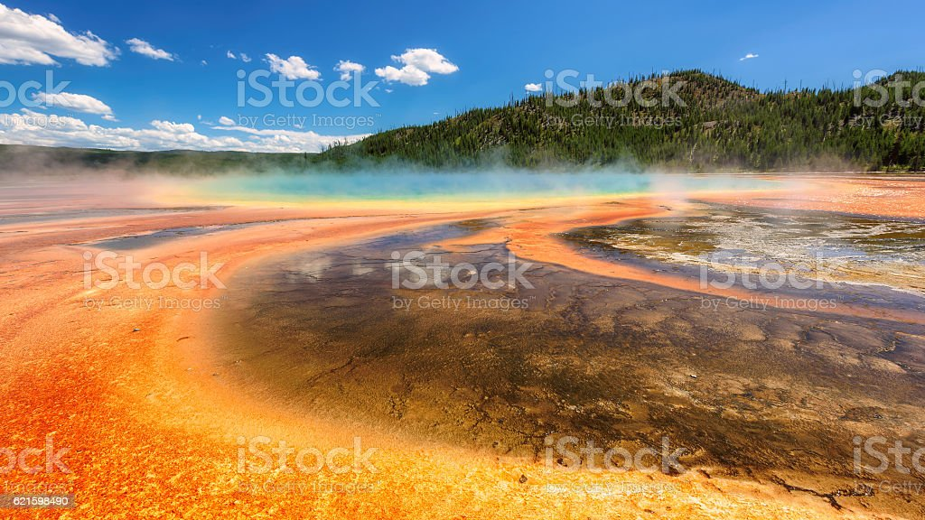 Thermal pool Grand Prismatic Spring in Yellowstone stock photo