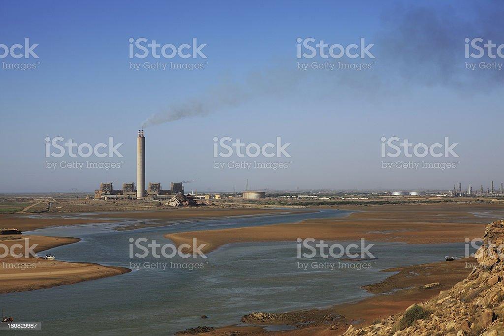 Thermal Power Plant Creek Mouth Arabian Sea Karachi Pakistan royalty-free stock photo