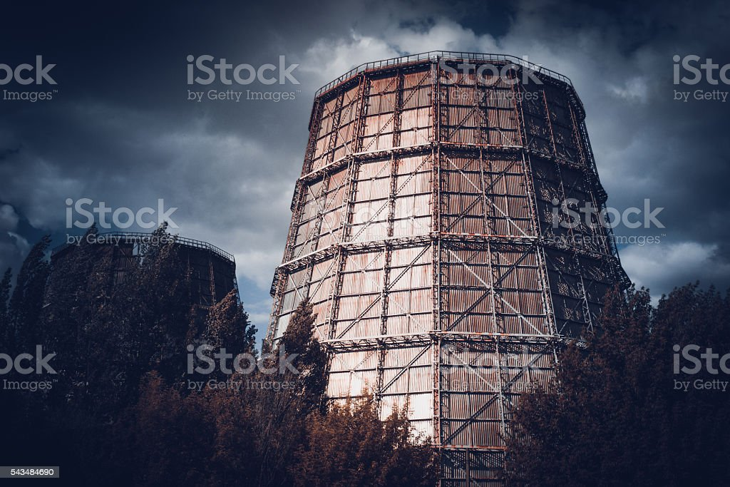 thermal power plant dark stock photo