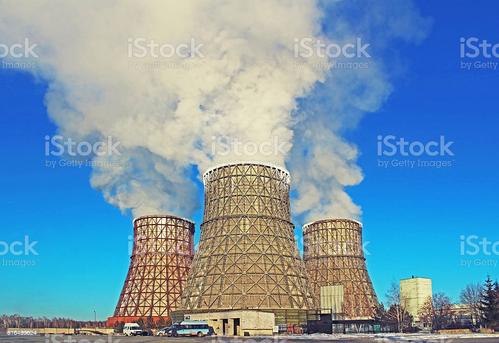 Thermal power plant in city stock photo